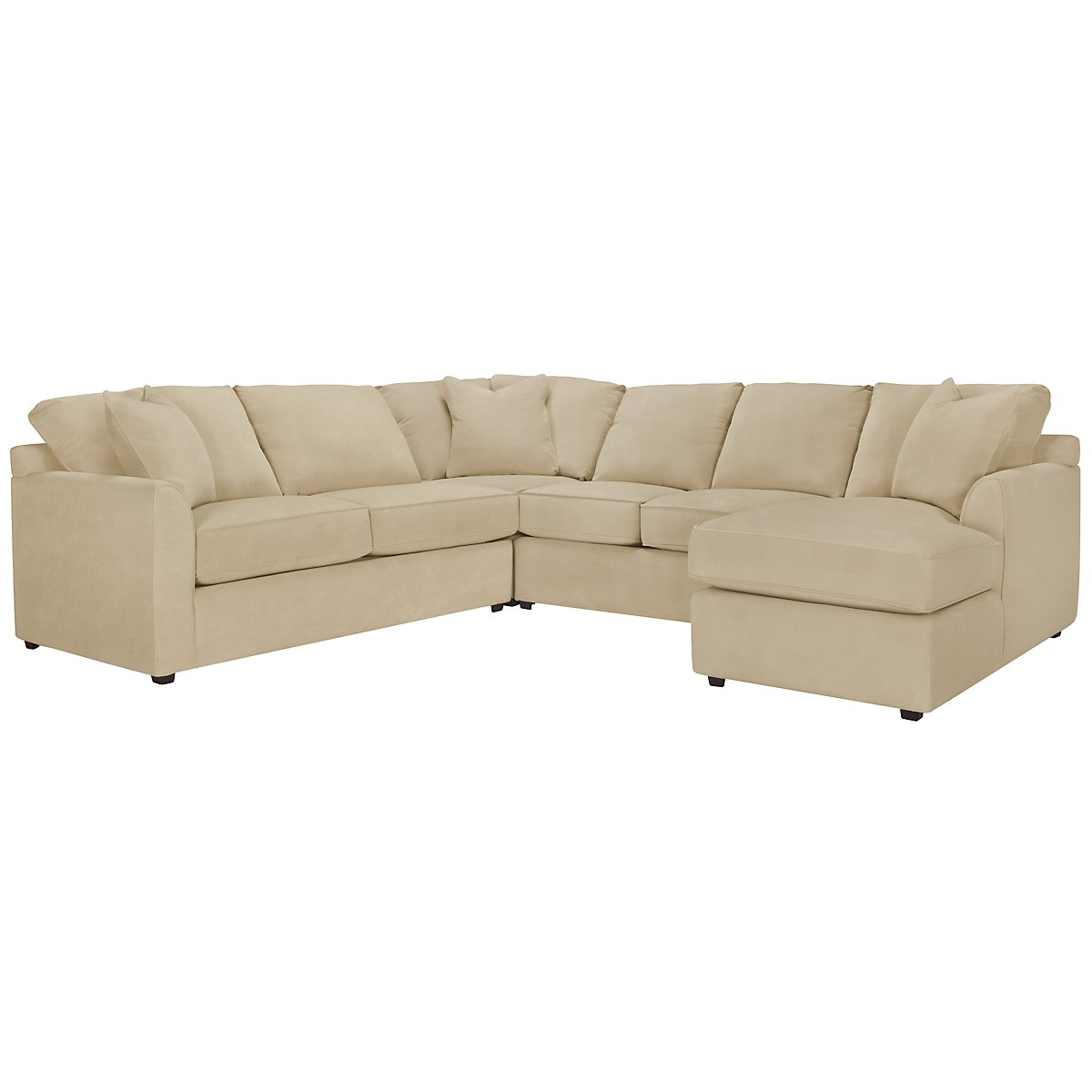 Express3 Light Beige Microfiber Small Right Chaise Sectional