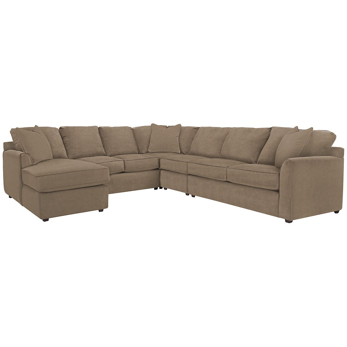 Express3 Light Brown Microfiber Large Left Chaise Sectional