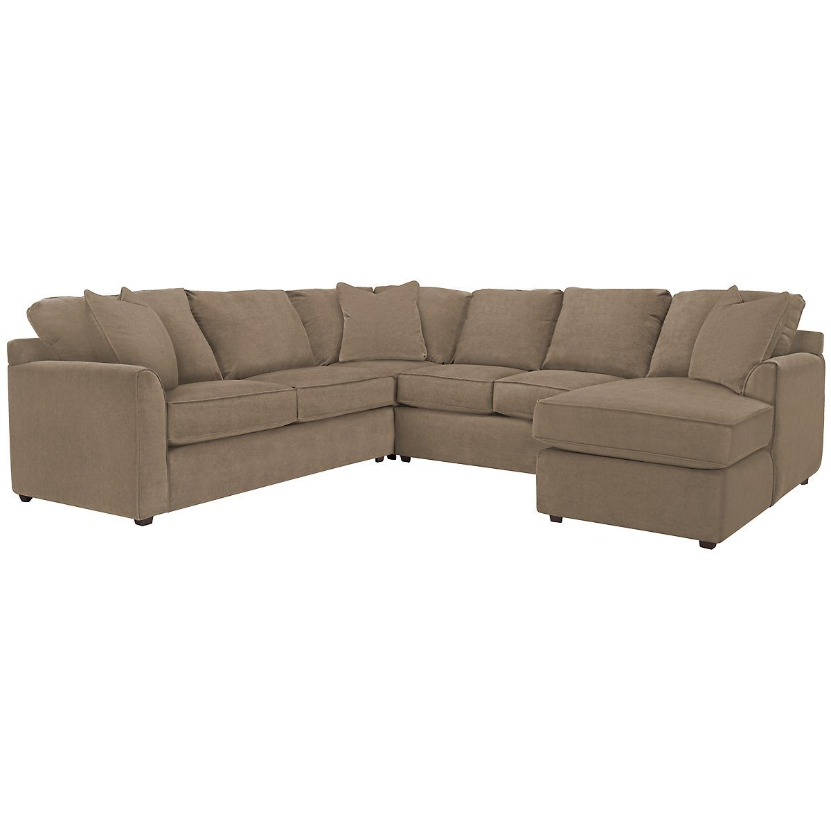 Express3 Light Brown Microfiber Small Right Chaise Sectional