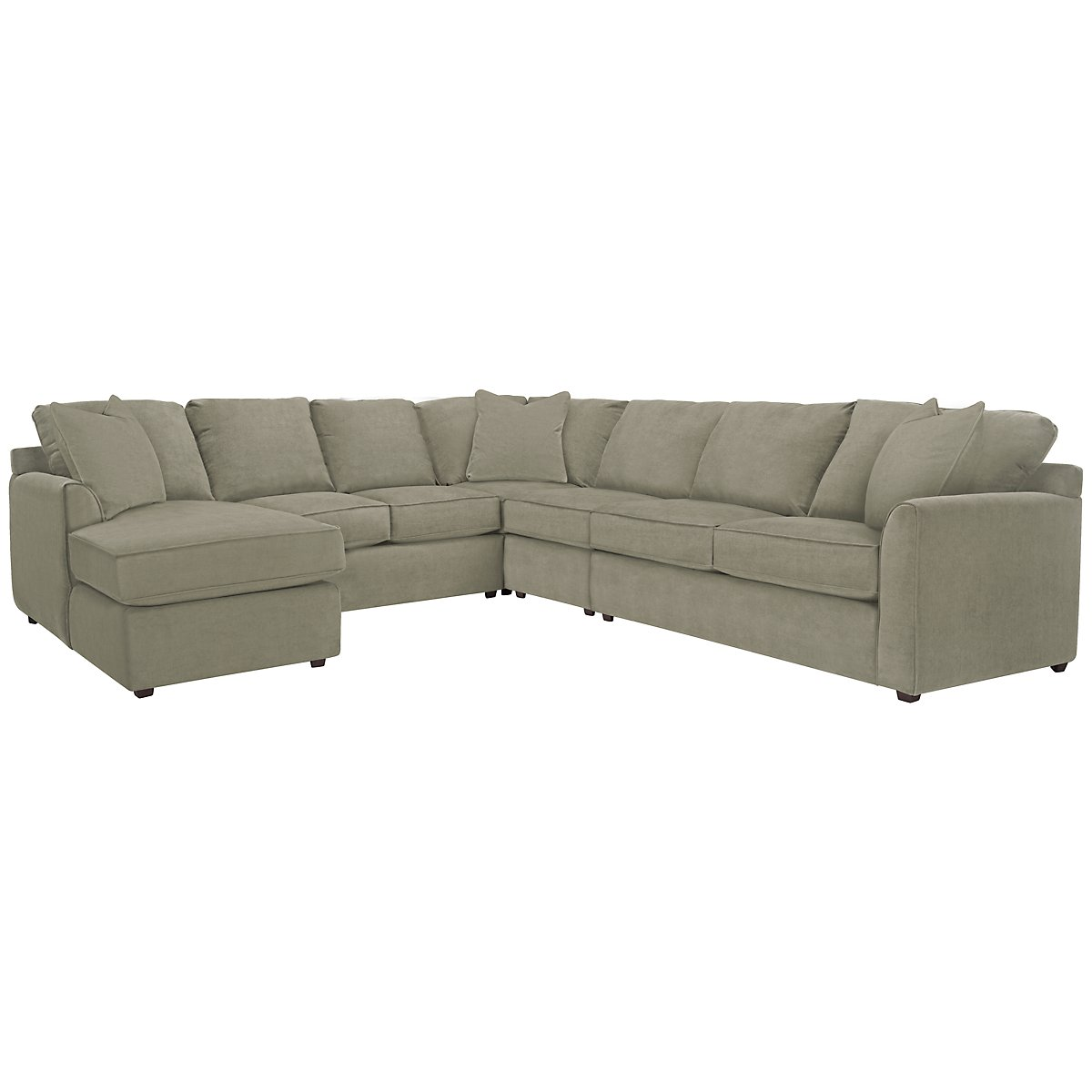Express3 Light Green Microfiber Large Left Chaise Sectional