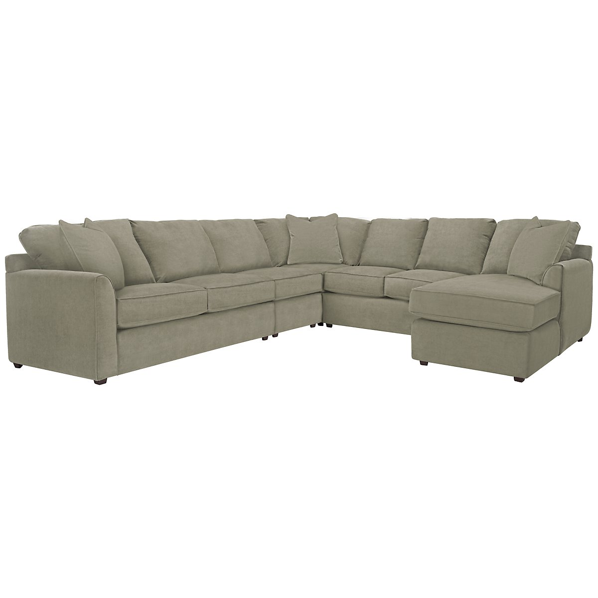 Express3 Light Green Microfiber Large Right Chaise Sectional