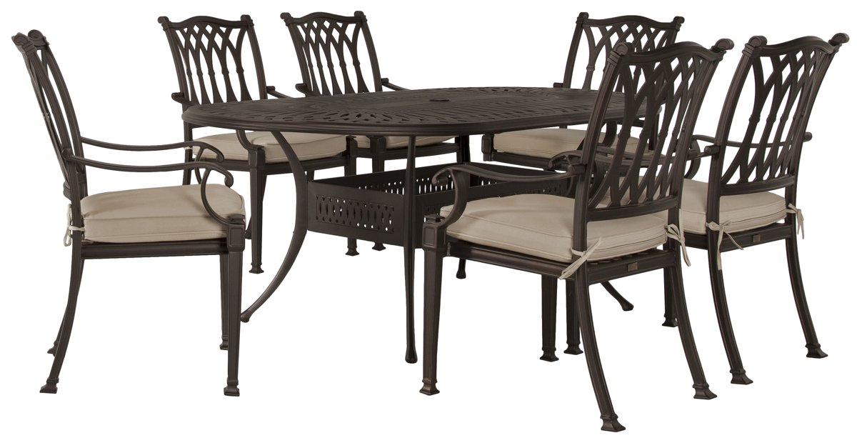 """Primera Dark Tone 72"""" Oval Table & 4 Cushioned Chairs"""