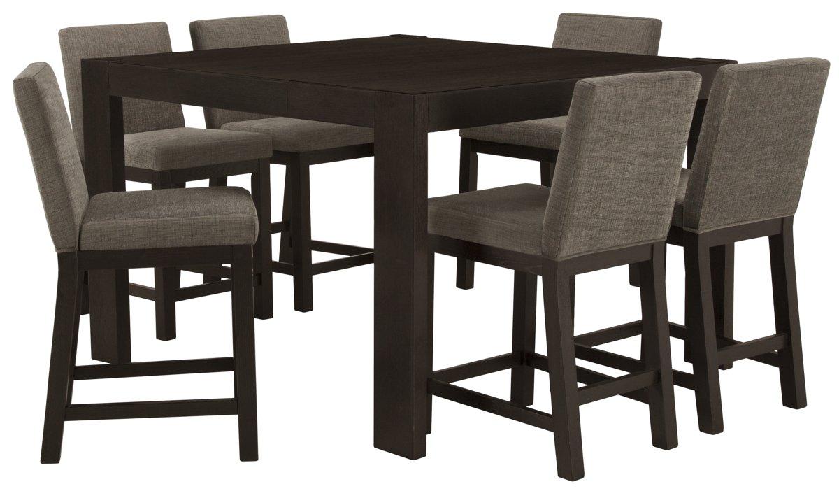 Tocara Dark Tone High Table & 4 Upholstered Barstools