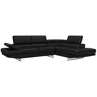 Athena Black Bonded Leather Right Bumper Sectional