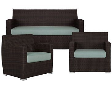 Grate Teal Outdoor Living Room Set