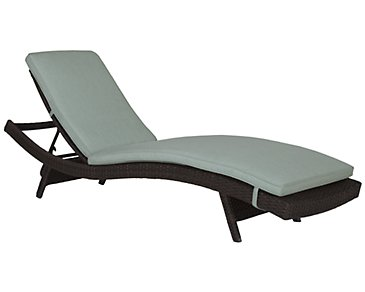 Grate Teal Cushioned Chaise