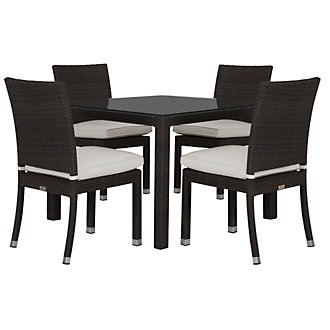 """Zen White 40"""" Square Table & 4 Chairs"""