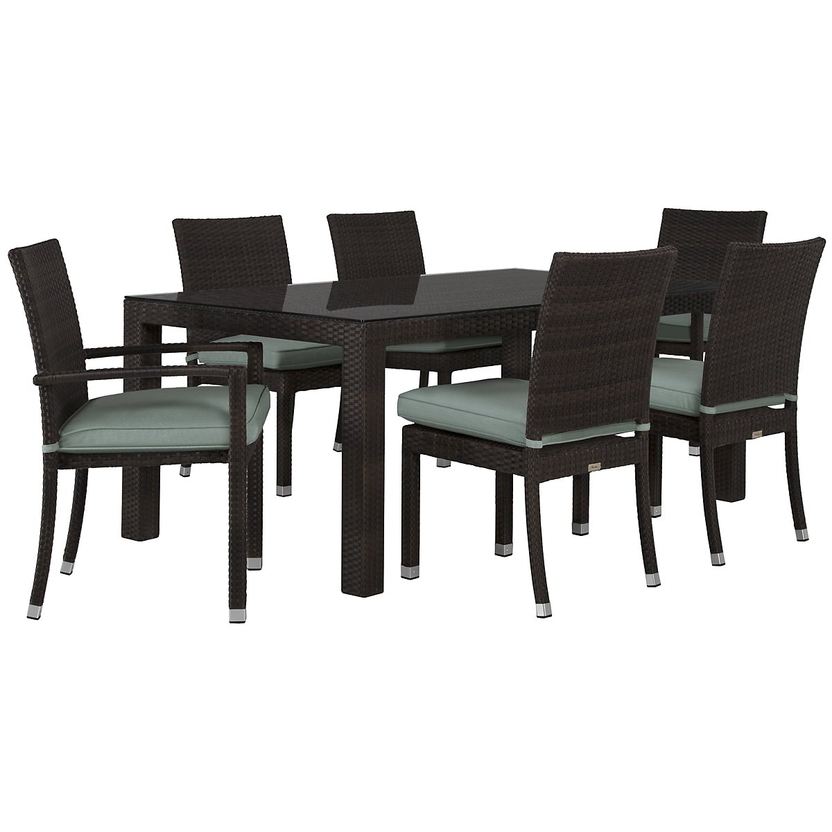 "Zen Teal 72"" Rectangular Table & 4 Chairs"