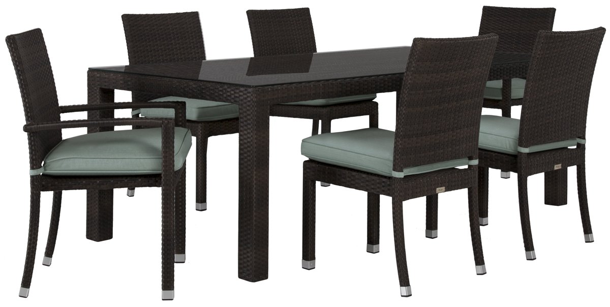 "Zen Teal 84"" Rectangular Table & 4 Chairs"