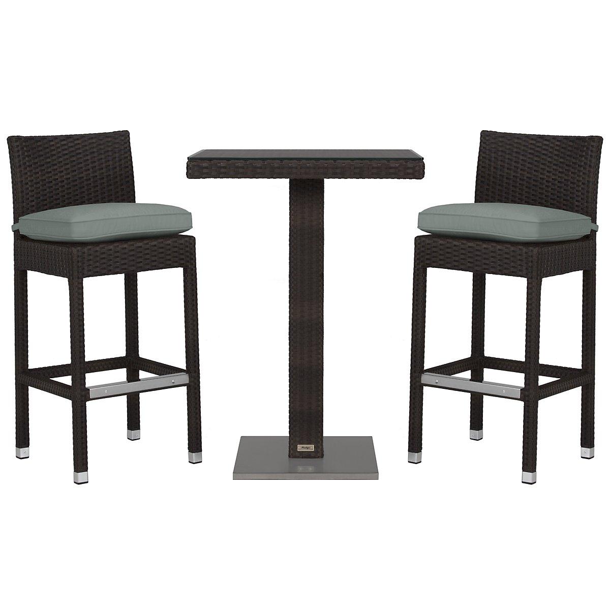 """Zen Teal 27"""" Pub Table & 2 Barstools"""