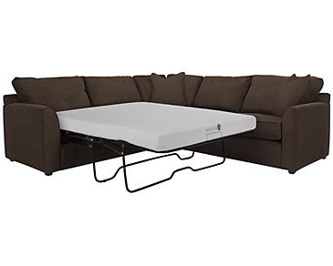 Express3 Dark Brown Microfiber Two-Arm Left Memory Foam Sleeper Sectional