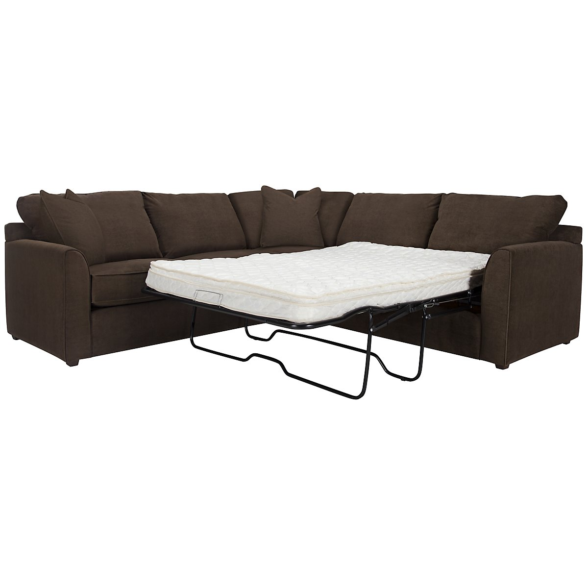 Express3 Dark Brown Microfiber Two-Arm Right Innerspring Sleeper Sectional
