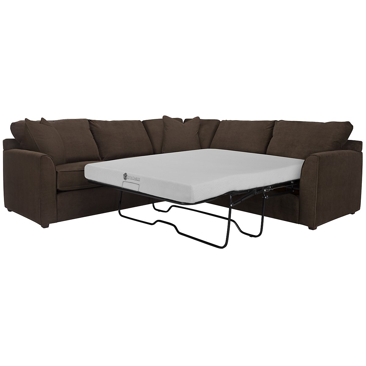 Express3 Dark Brown Microfiber Two-Arm Right Memory Foam Sleeper Sectional