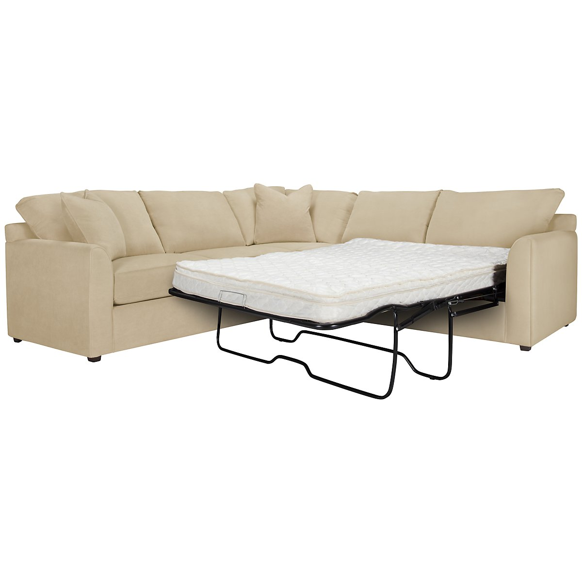 Express3 Light Beige Microfiber Two-Arm Right Innerspring Sleeper Sectional