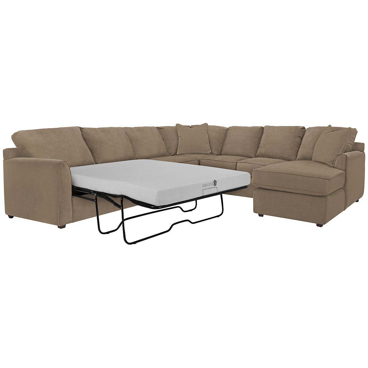 Express3 Light Brown Microfiber Right Chaise Memory Foam Sleeper Sectional
