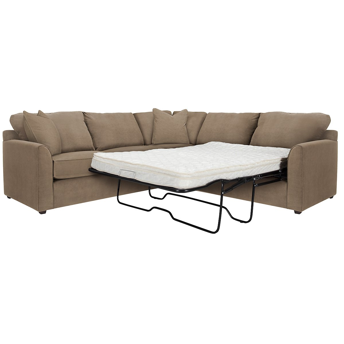Express3 Light Brown Microfiber Two-Arm Left Innerspring Sleeper Sectional