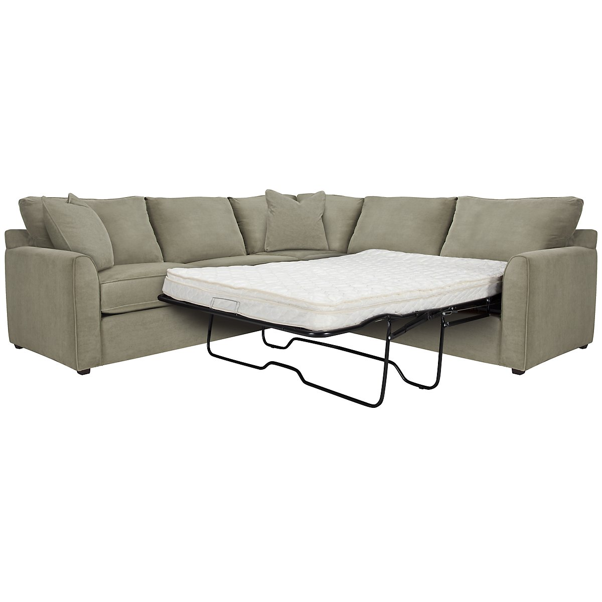 Express3 Light Green Microfiber Two-Arm Right Innerspring Sleeper Sectional
