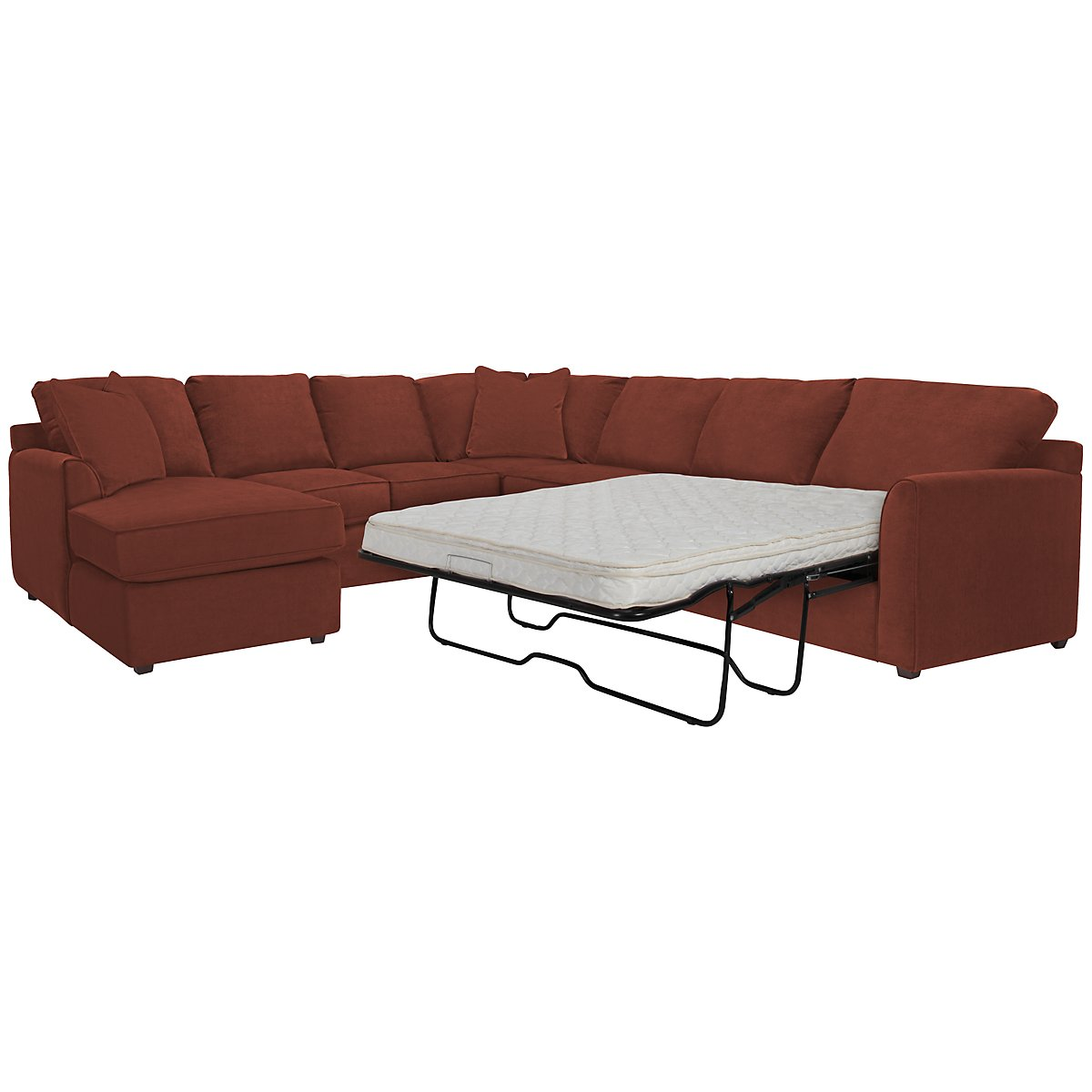 Express3 Red Microfiber Left Chaise Innerspring Sleeper Sectional