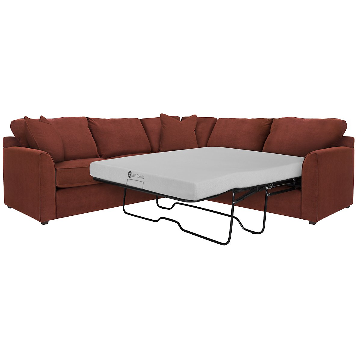 Express3 Red Microfiber Two-Arm Right Memory Foam Sleeper Sectional