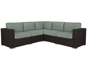 Fina Teal Small Two-Arm Sectional