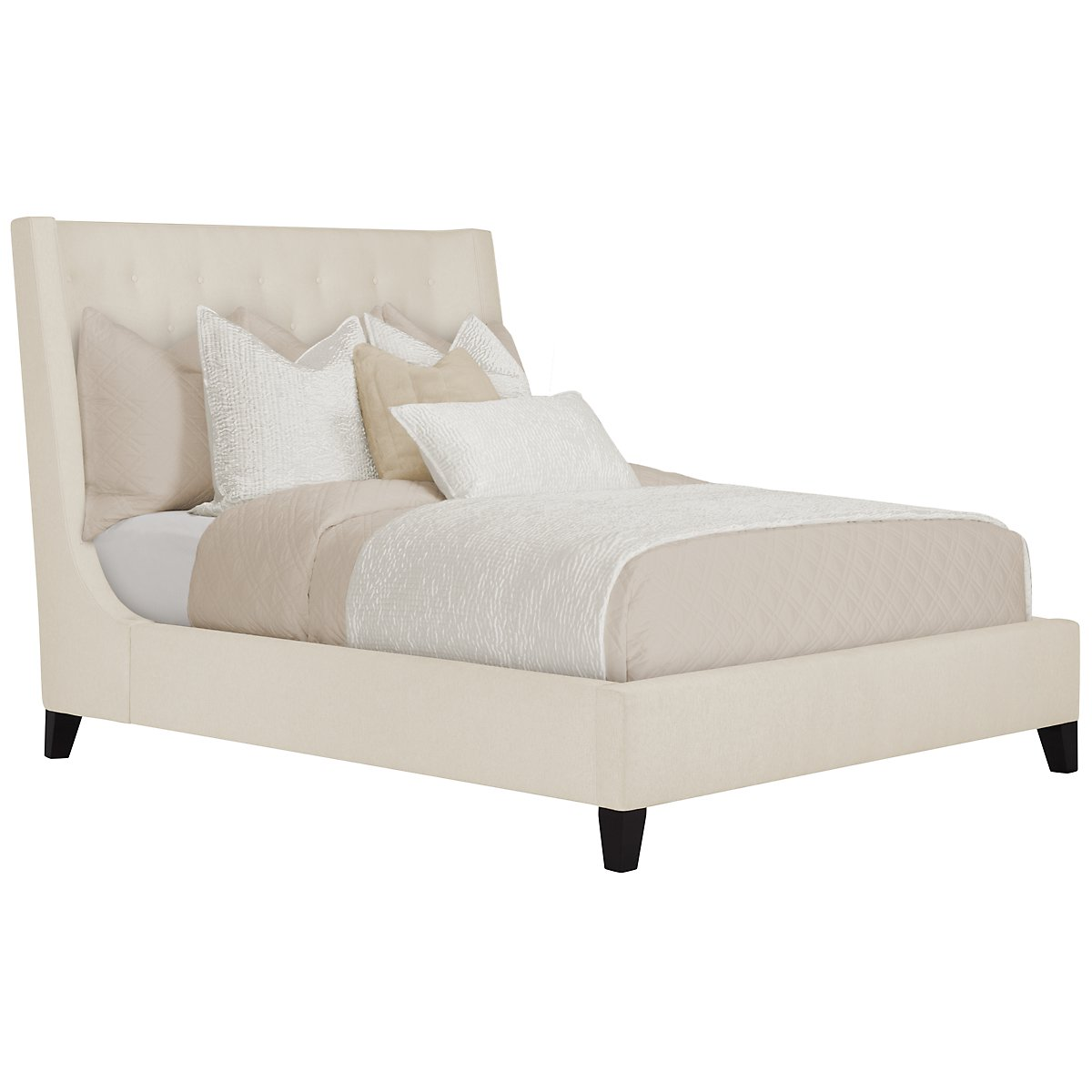 Maxime Light Beige Upholstered Platform Bed