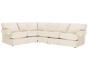 Kylie Beige Cotton Large Two-Arm Sectional