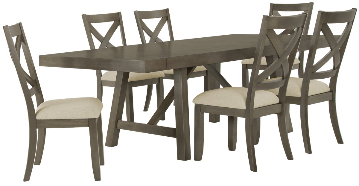 Omaha Gray Rect Table & 4 Wood Chairs