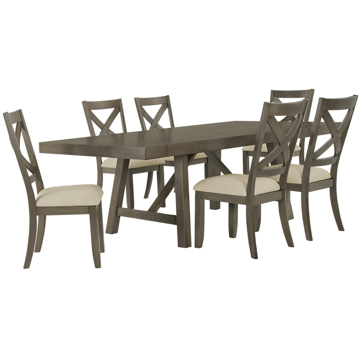 Omaha Gray Wood Table & 4 Wood Chairs