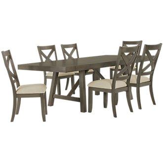 Omaha Gray Rectangular Table & 4 Wood Chairs