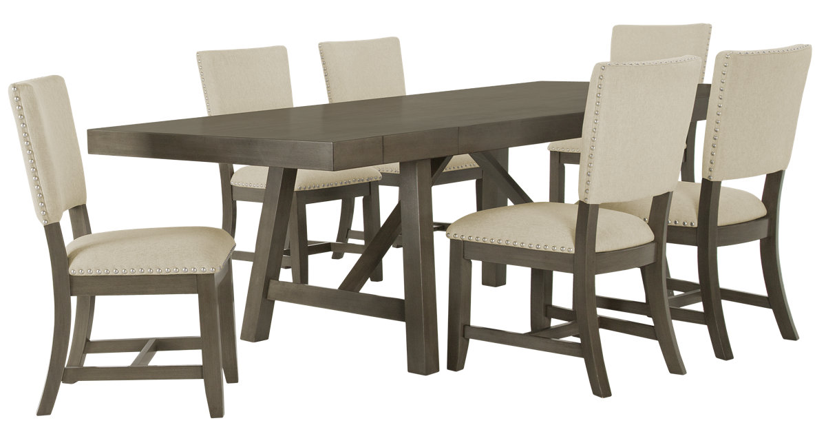City Furniture Omaha Gray Rectangular Table 4 Upholstered Chairs