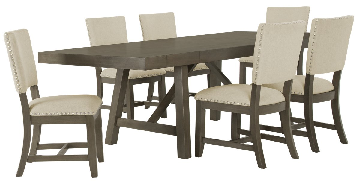 Omaha Gray Rect Table & 4 Upholstered Chairs
