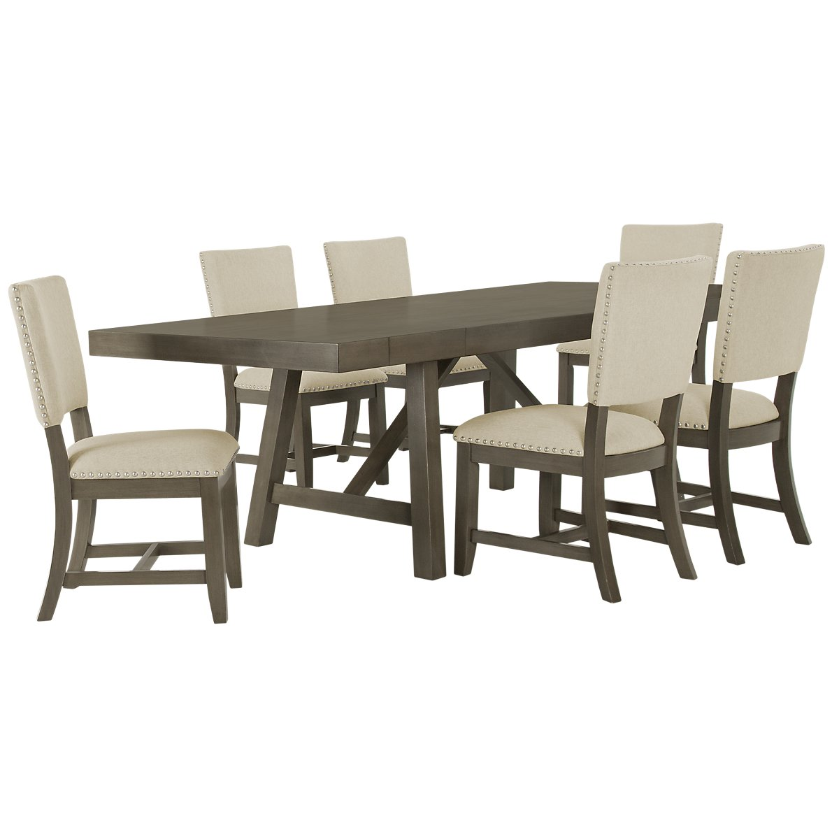 Omaha Gray Wood Table & 4 Upholstered Chairs