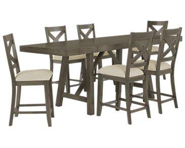 Omaha Gray High Table & 4 Wood Barstools