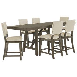 Omaha Gray High Table & 4 Upholstered Barstools