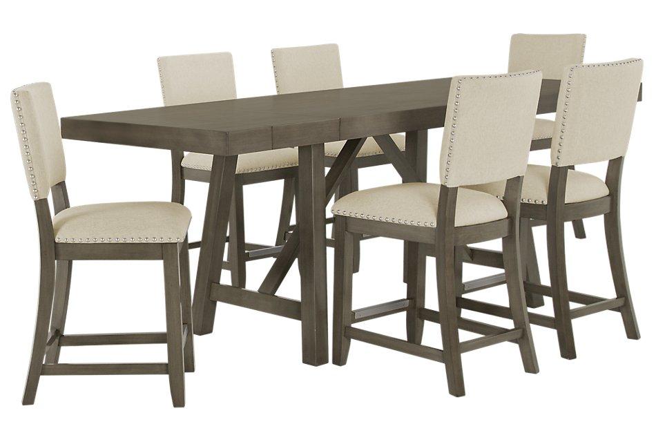 Omaha Gray Wood High Table & 4 Upholstered Barstools