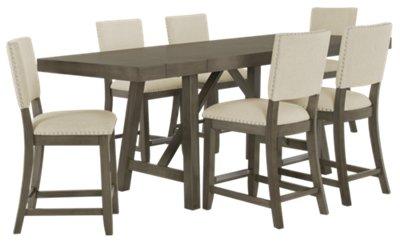 Incroyable Omaha Gray High Table U0026 4 Upholstered Barstools