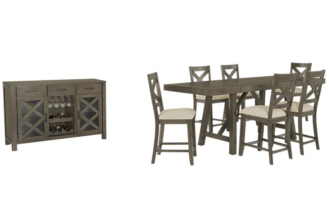 Omaha Gray Wood High Dining Room