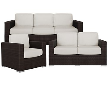 Fina White Outdoor Living Room Set