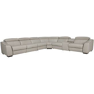 Alessi3 Light Gray Leather & Vinyl Large Two-Arm Power Reclining Sectional