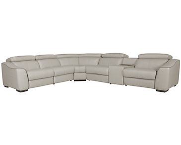 Alessi3 Light Gray Leather & Vinyl Small Two-Arm Power Reclining Sectional