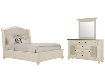 Coventry White Upholstered Platform Bedroom