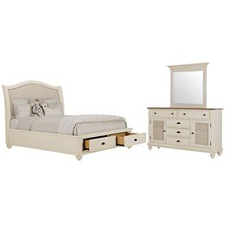 Coventry White Upholstered Platform Storage Bedroom
