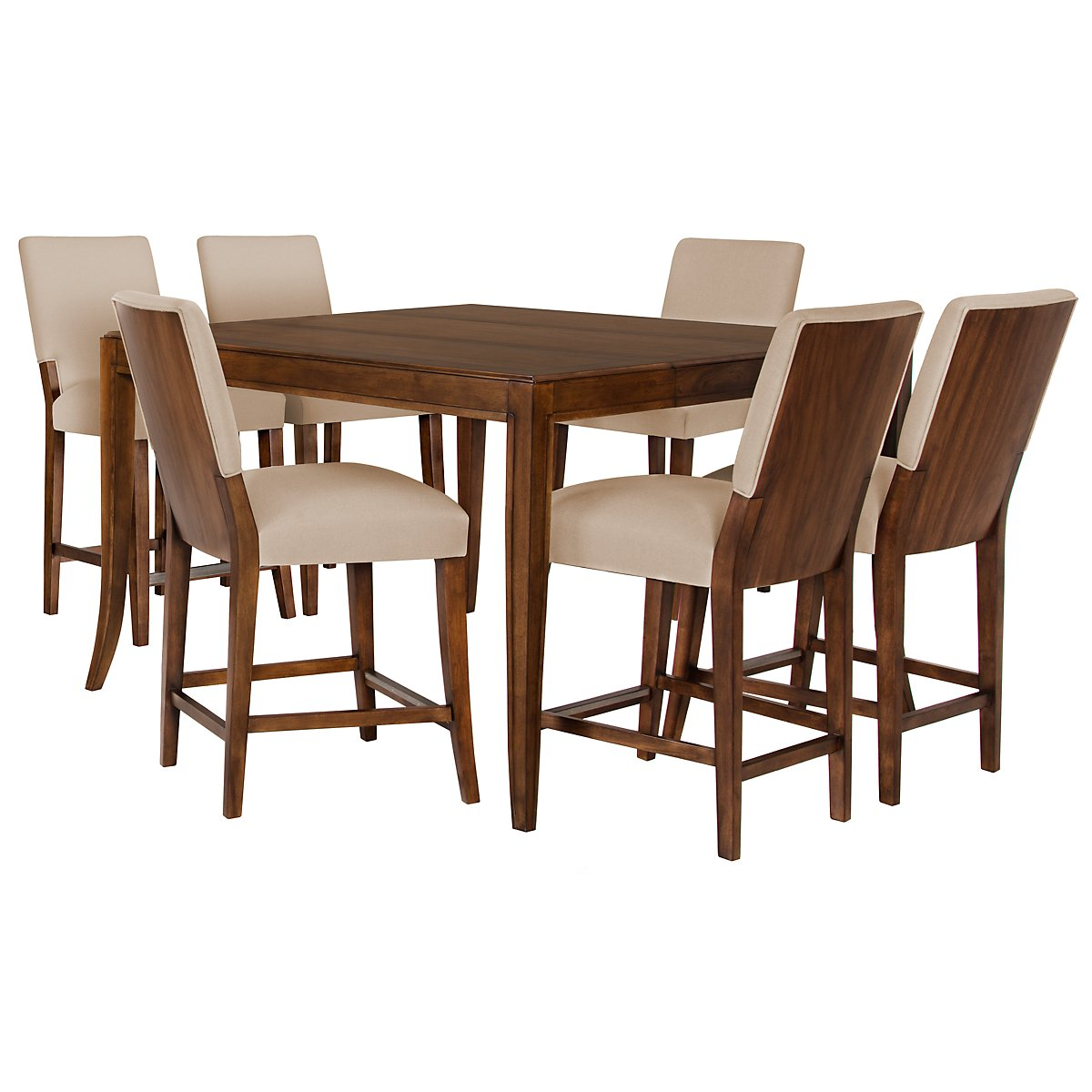 Savoy Mid Tone High Table & 4 Upholstered Barstools