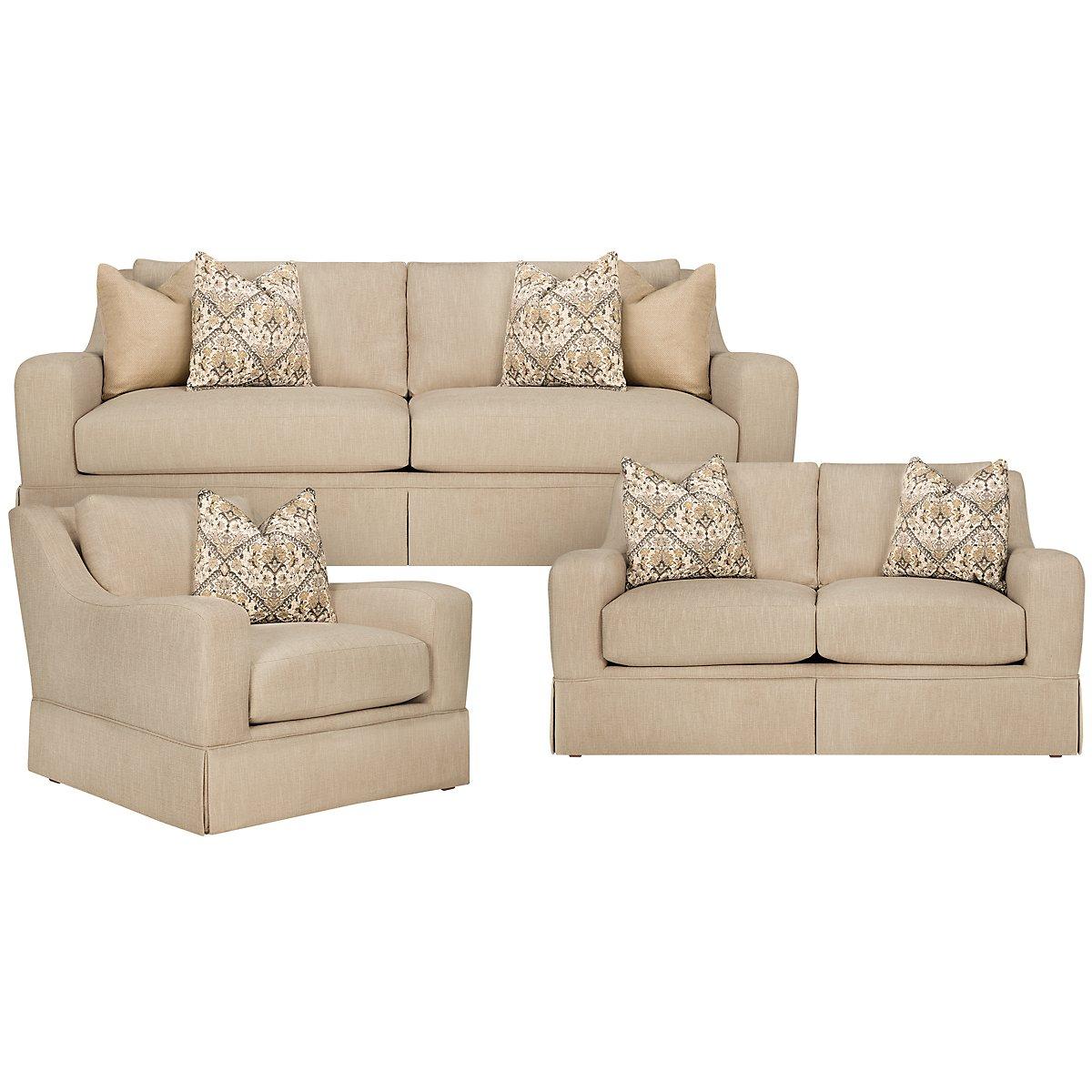 Hallie Beige Fabric Living Room