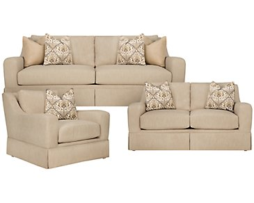 Hallie Beige Fabric Living Room