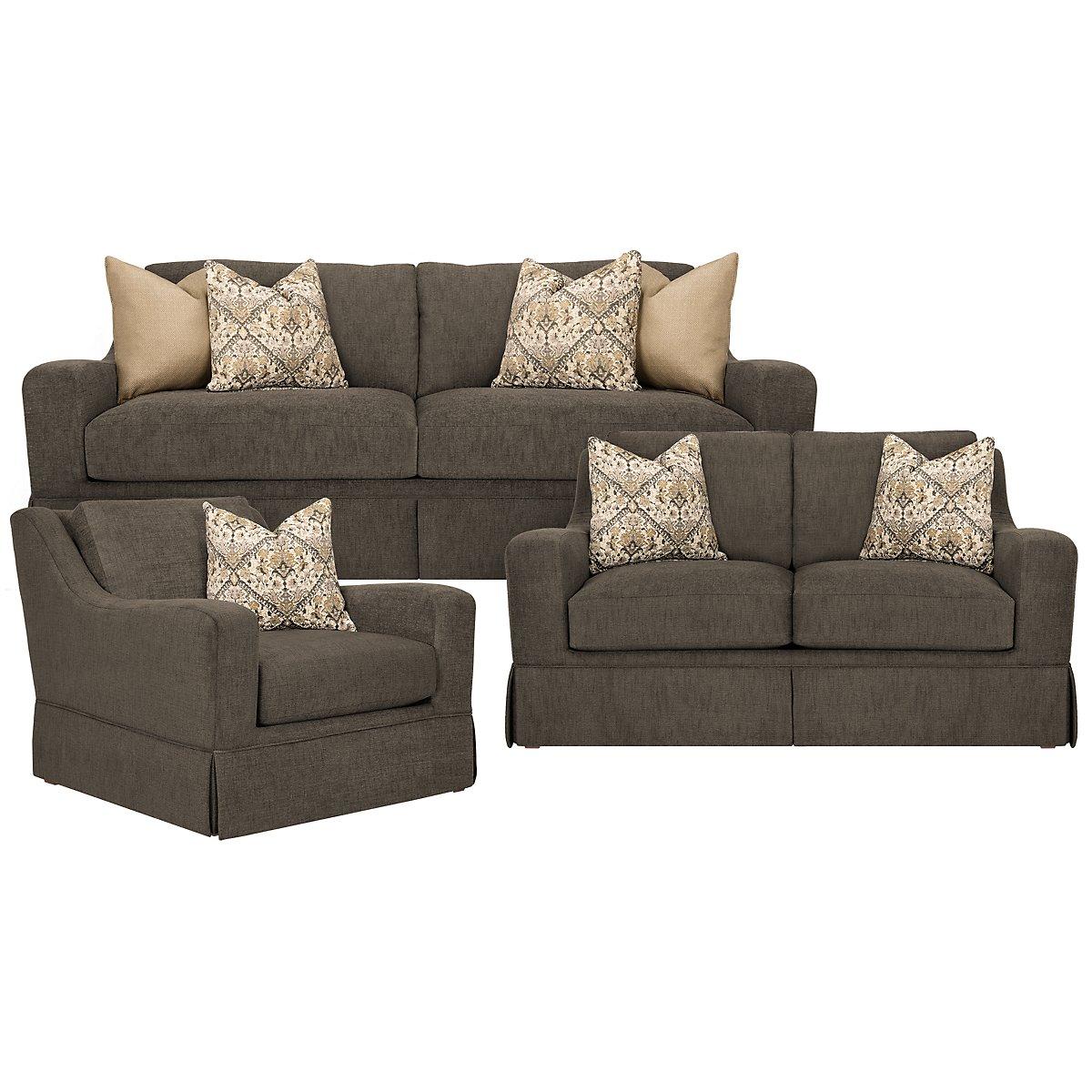 Hallie Dark Gray Fabric Living Room