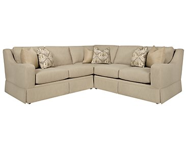 Hallie Beige Fabric Small Two-Arm Sectional