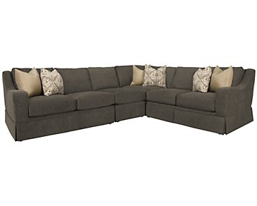 Hallie Dark Gray Fabric Large Two-Arm Sectional