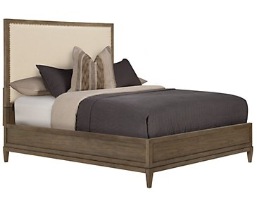 Preston Gray Upholstered Platform Bed