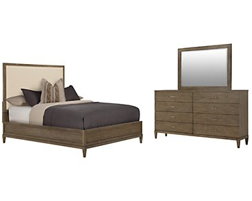 Preston Gray Upholstered Platform Bedroom